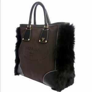 Pristine! PRADA Canvas Saffiano Leather & Fox Tote